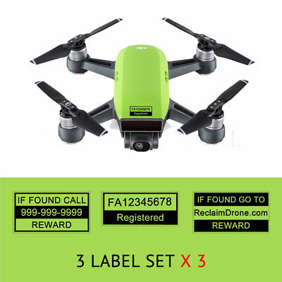 Spark Drone Labels Decals, FAA UAS Registration and Phone Number, DJI