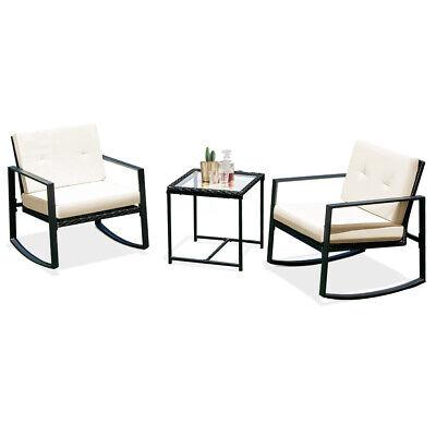 3PCS Rattan Wicker Rocking Chair Bistro Furniture Set Patio Garden W/Cushions