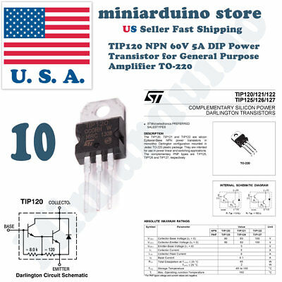 10pcs Tip120 Npn Transistor Complementary 60v 5a Amplifier To-220