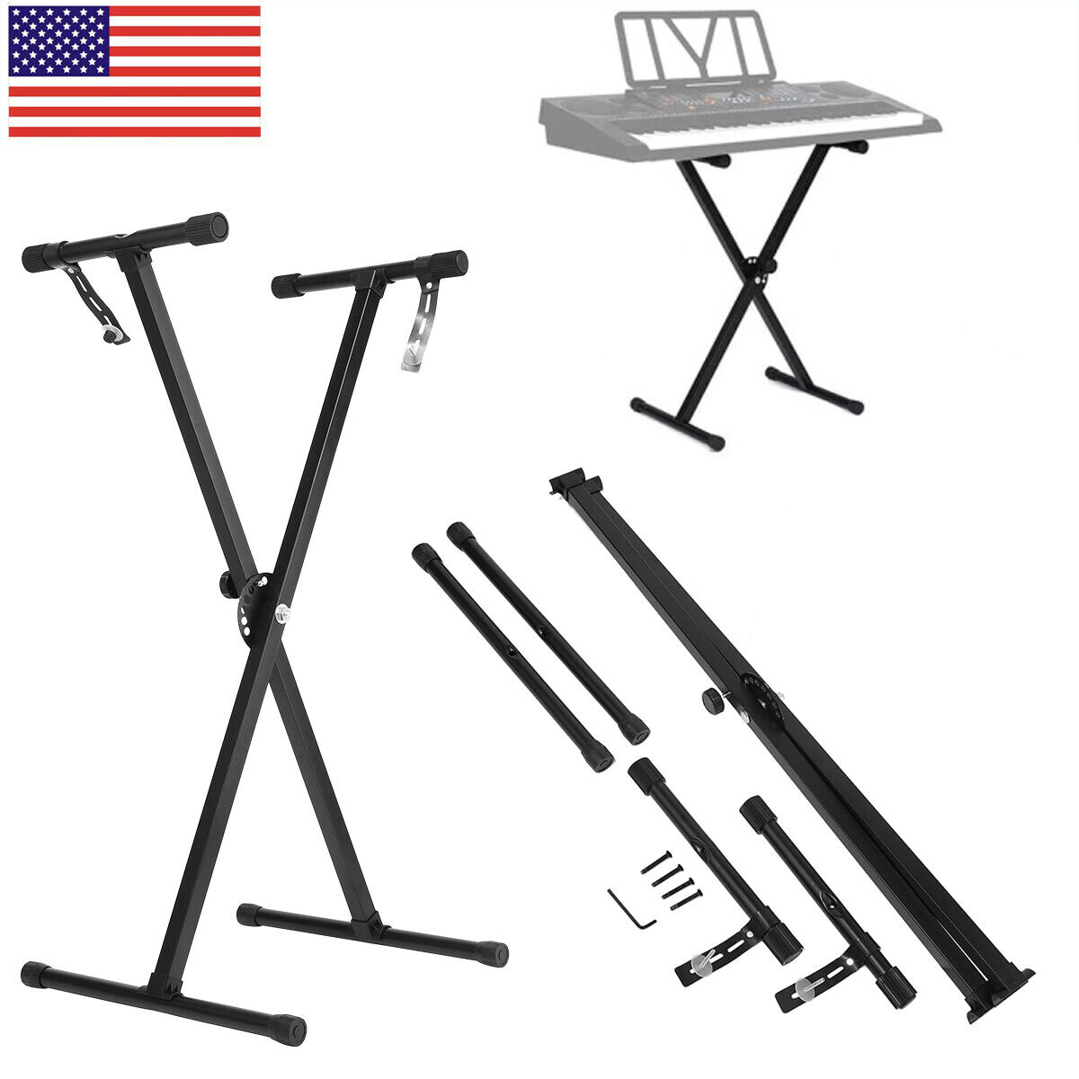 Iron Music Keyboard Electronic Piano Dual Tube X Stand Stand