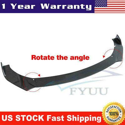 3X Full Surrounded Rotate Car Front Lip Chin Bumper Body Spoiler Splitter Carbon