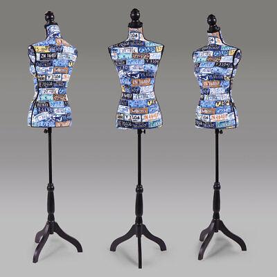 Female Mannequin Torso Designer Pattern Dress Form Display Black Tripod Stand
