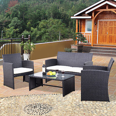 4PCS Rattan Wicker Furniture Set Sofa Seat Cushioned Outdoor Patio Garden Black