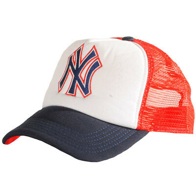 Mens New Era Fits NY Yankees Red Mesh Peak Trucker Baseball Cap Size