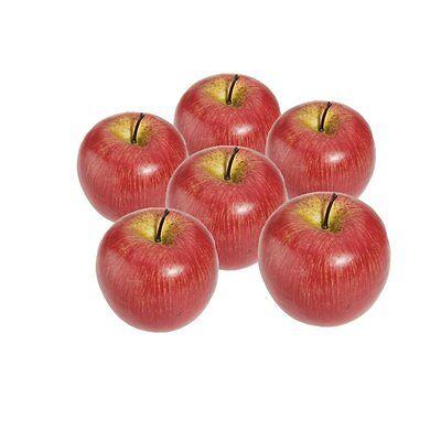 Decorative Artificial Apple Plastic Fruits Imitation Home Decor 6pcs Red ED