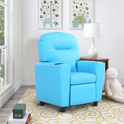 Home Children Kids Recliner Wood PU Padded Sofa Arm Chair wi