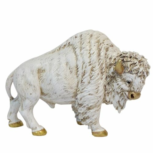 DeLeon Collections Resin Statues Gilt Accented White Buffalo Statue