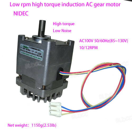 NIDEC 100/110V 55W High Torque Low Noise Induction AC Gear Motor Single Phase FY