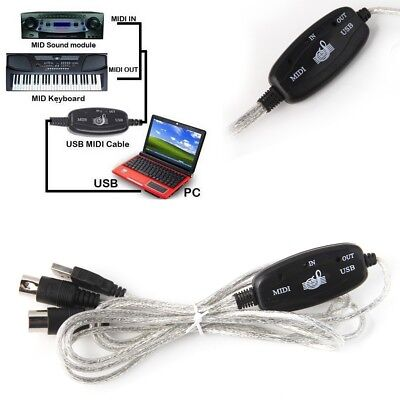 USB Midi Cable Lead Adaptor Keyboard Interface to PC for Windows Mac UK Seller