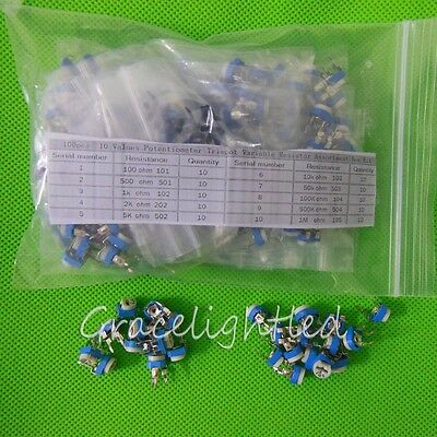 100pcs 10 Values Potentiometer Trimpot Variable Resistor Assortment Kit 100-1m