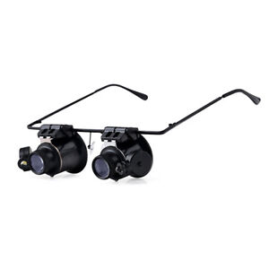 20X Binocular Magnifying Glasses w/2 LED Lights For electronic repair