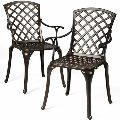 Set of 2 Patio Bistro Chairs Cast Aluminum Arm Dining Chairs Outdoor Patio Arms Outdoor Benches