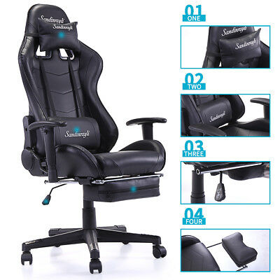 Racing Chair Pu Leather High-back Ergonomic Computer Chair Swivel Office Task