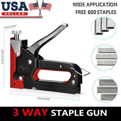 Heavy Duty Staple Gun 3 In 1 Hand Stapler Tacker With 600 Staples Upholstery New