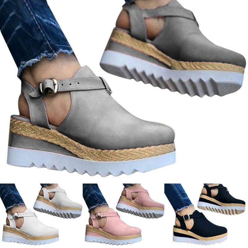 Women Block Shoes Ankle Strap Sandals Close Toe Platform Fla