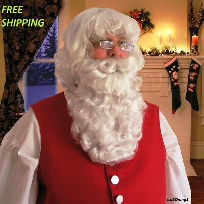 Santa Claus Wig And Beard Set (Deluxe Santa Claus Beard And Wig Set Christmas Fancy Dress Costume Accessory)