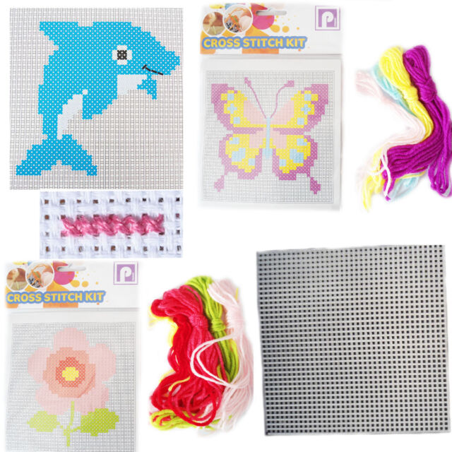 Childrens beginners cross stitch kits cat dog bear flower