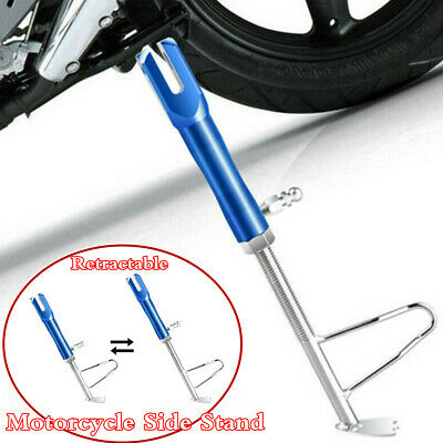 Blue CNC Motorcycle Kickstand Retractable Parking Leg Foot Side Support Stand