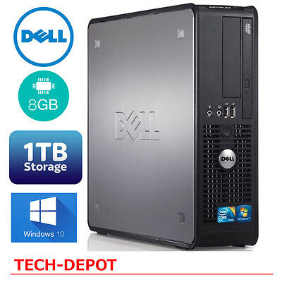 Dell Desktop Computer Pc Core 2 Duo 3 0Ghz 8Gb Ram 1Tb Hd Windows 10 Wifi Fast