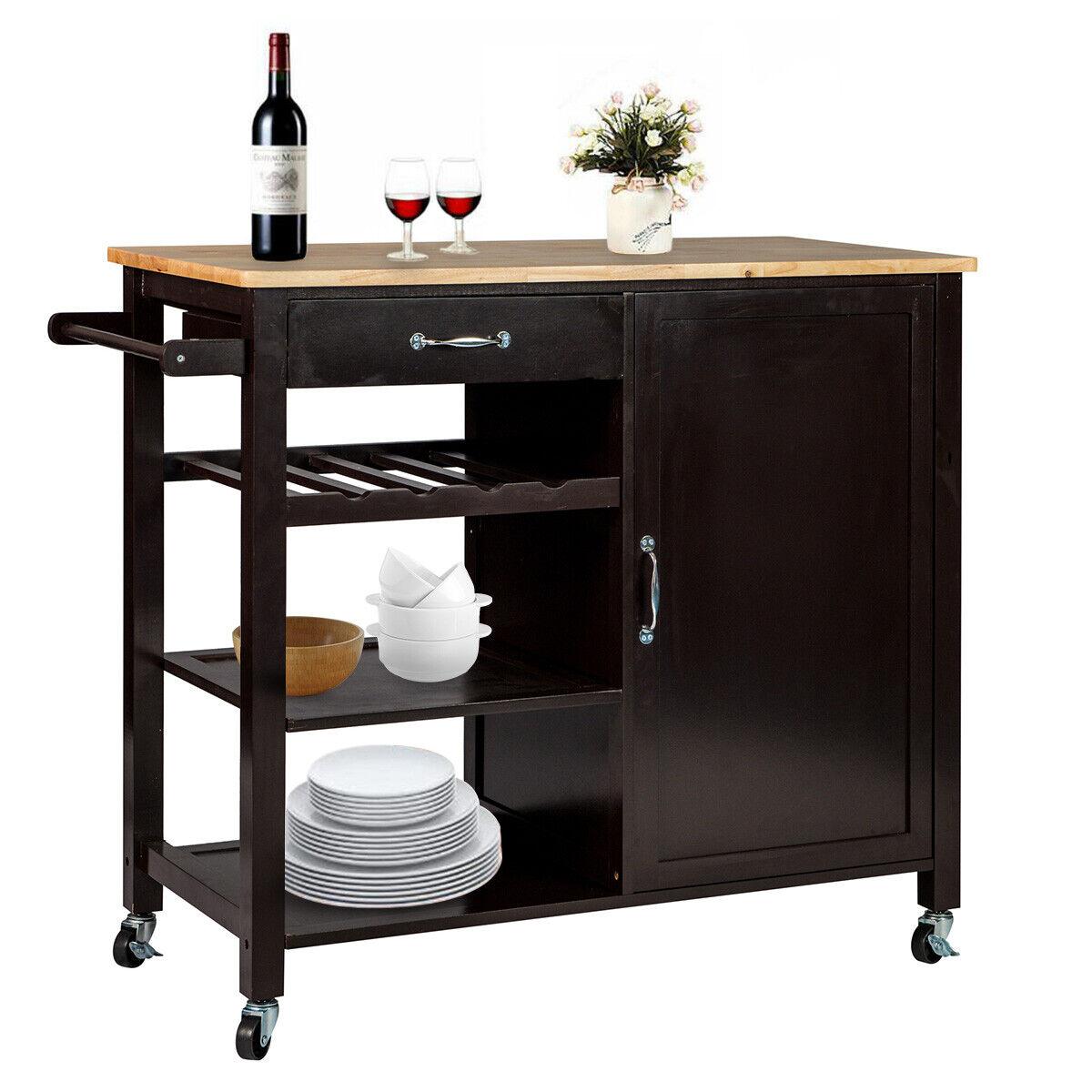 Wooden Kitchen Island Trolley Cart Utility Dining Storage Ca