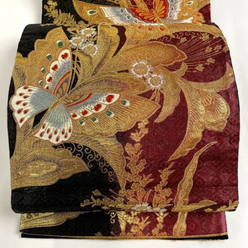 "Japanese Kimono SILK Fukuro OBI, Rokutu ,Gold thread/leaf,Butterfly,L168""..1981"