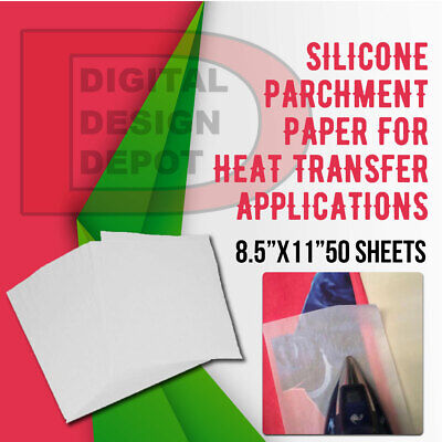 Silicone Parchment Paper For Heat Transfer Applications 8.5x11 50 Sheets