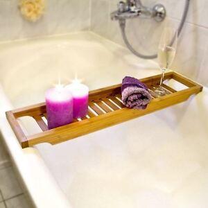 WOODEN BAMBOO LUXURY BATHTUB STORAGE RACK CADDY SHELF TIDY TUB TRAY HOLDER NEW