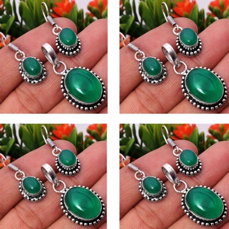 Green Onyx 2pcs 925 Sterling Silver Plated Pendant Earring Sets Jewelry