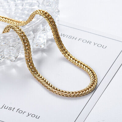 Unisex Gold Stainless Steel Curb Chain Necklace Jewelry For Women & Men 23.6""