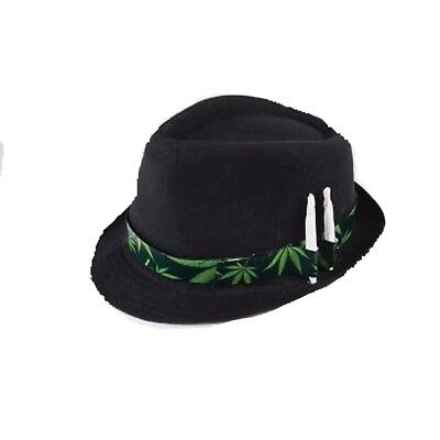 Marijuana Leaf Black Fedora With Joint Holder Hat Costume Stoner Weed Smoking