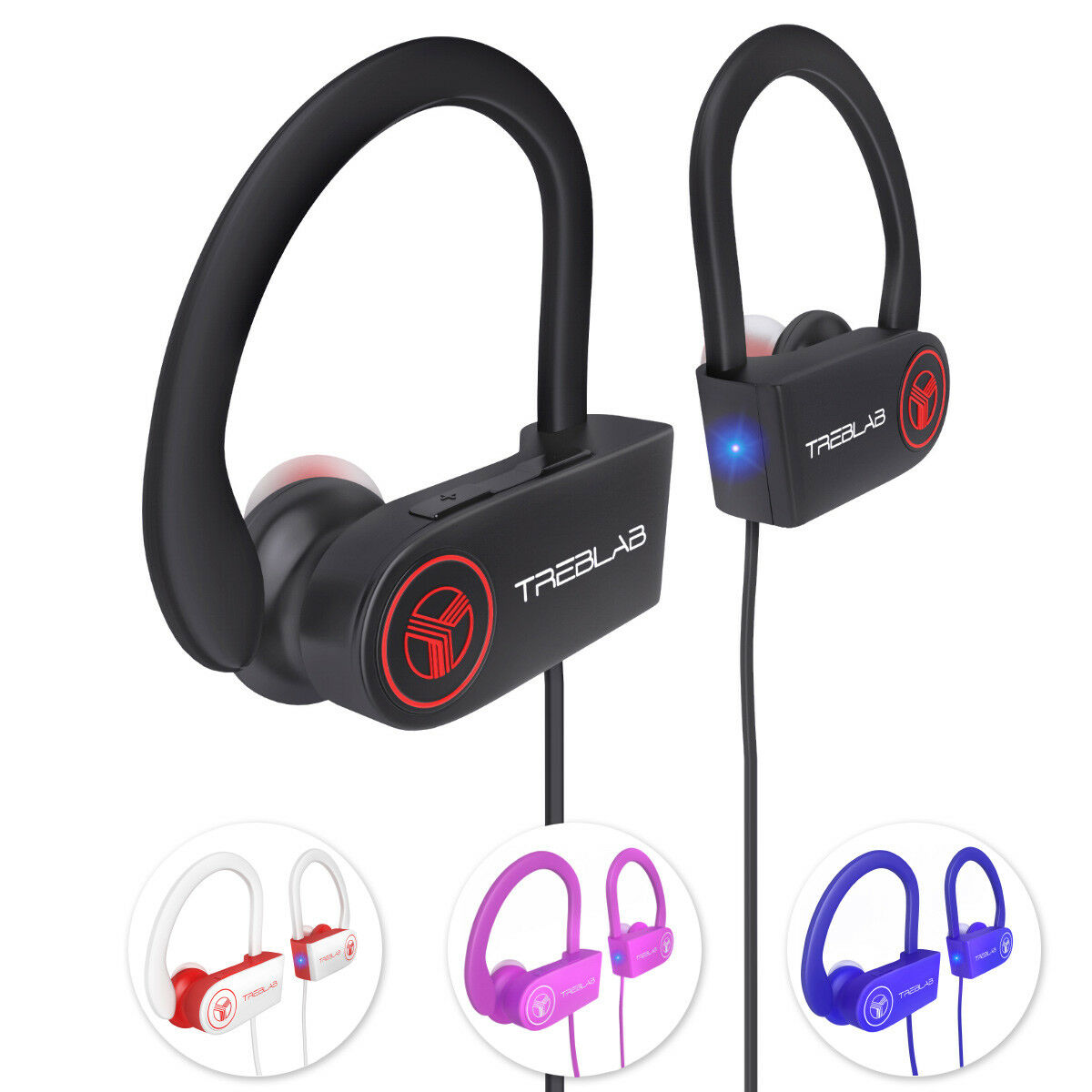 Headphones - TREBLAB XR100 Bluetooth Headphones Best Running Sports Workout Wireless Earbuds