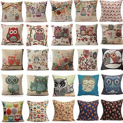 Cartoon Owl Cotton Linen Throw Pillow Case Cushion Cover Home Sofa Decorative ❤