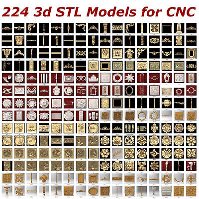 224 3d STL Models  for CNC artcam 3d printer aspire