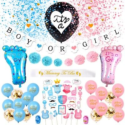 Gender Reveal Party Supplies Set Foil Latex Confetti Balloons Baby Shower - Party Supplies Pink