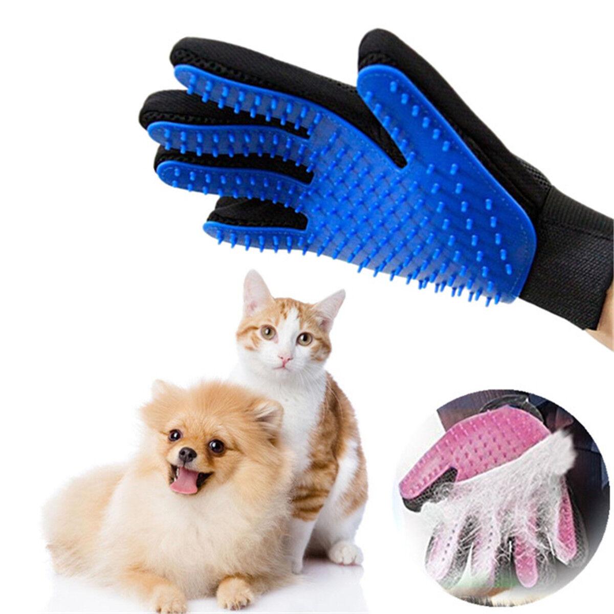 Pflege Handschuh Fell Tierhaar Hunde Katzen Bürste Fellpflegehandschuh Massage R