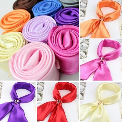 Fashion Ladies Square Satin Scarf Solid - Solid Colors