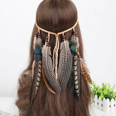 Bollywood Böhmische Feder Perlen Stirnband Haarband Kostüm Indian Kopfschmuck (Haar Band Kostüm)