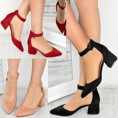 Womens Ladies Low Block Heel Office Shoes Black Work Formal