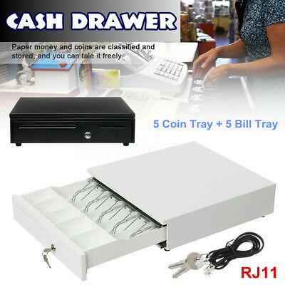 5 Bill 5 Coin Tray Cash Register Drawer Box Compatible Pos Printer Money Lock