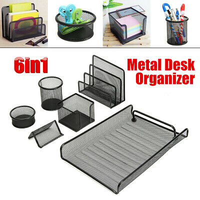 6 In 1 Business Organizer Desk Metal Mesh Office Table Supplies Holder Storage