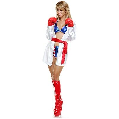 Female Boxer Costumes (Boxer Costume Adult Sexy Boxing Girl Female Rocky Balboa Halloween Fancy)