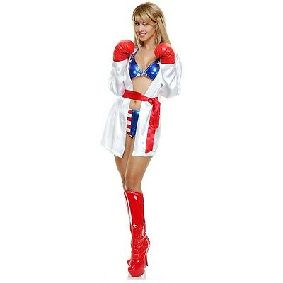 Boxer Costume Adult Sexy Boxing Girl Female Rocky Balboa Halloween Fancy Dress (Female Boxer Halloween Costume)
