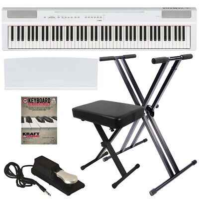 Yamaha P-125 Digital Piano - White KEY ESSENTIALS BUNDLE