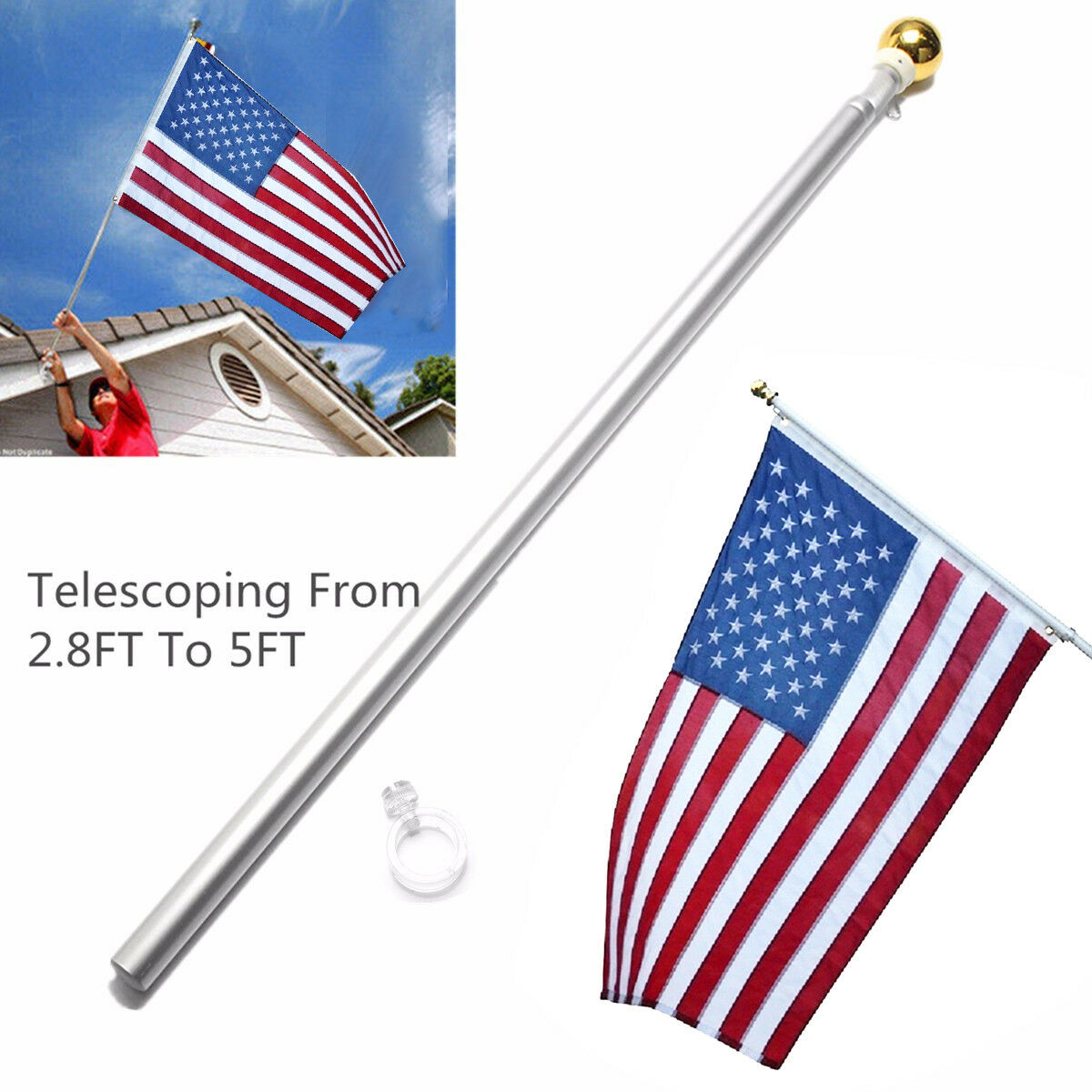 5 Foot Aluminum Spinning Flagpole Flag Pole for Grommet or H