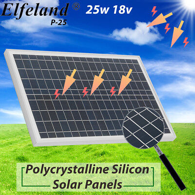 25 Watt 25W 18V 18 Volt Solar Panel Battery Charger RV Runabout Camping Off Grid US