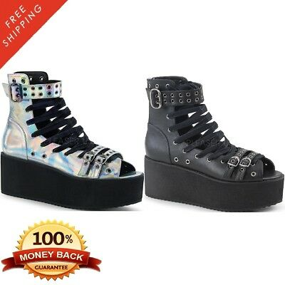 Demonia GRIP-105 Women's Platform Lace-Up Ankle High Sandal - Lace-up Ankle High Sandal