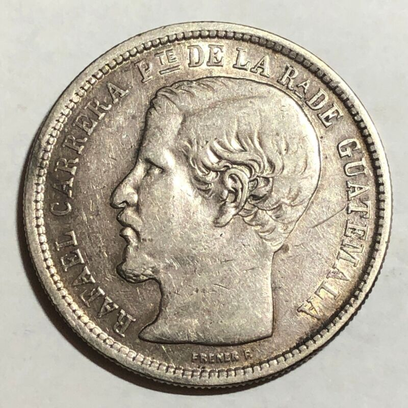 1864-R Guatemala UN PESO, XF. #uk2    (large crown-sized silver coin)