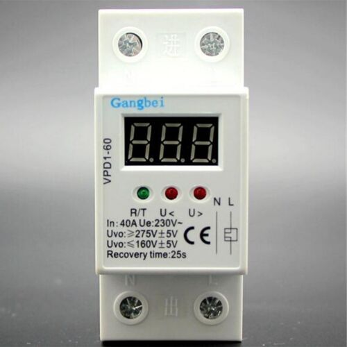 35mm 40A 220V 50/60HZ  Over and Under Voltage Protective Device Relays  2P