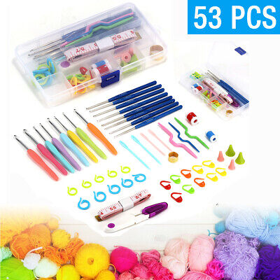 53pcs Crochet Hooks Kit Yarn Knitting Needles Sewing Tool Ergonomic Grip Bag Set