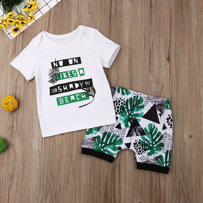 Toddler Newborn Summer T shirt top + Shorts Outfits Beach Clothing For Baby Boy](New Outfit For Boys)
